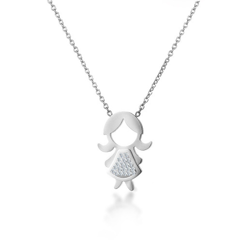 Fashion girl portrait style silver necklace