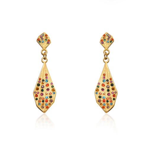 Pendientes multicolores de acero inoxidable de moda con diseño de joyas chapados en oro
