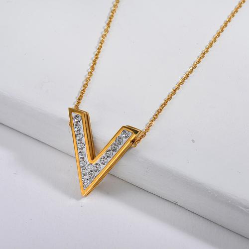 V-shaped fashion style gold necklace