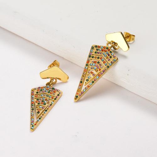 Pendientes colgantes triangulares de acero inoxidable con joyas chapadas en oro