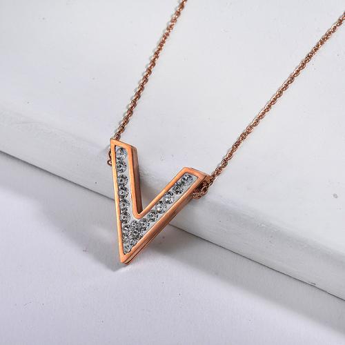 V-shaped fashion style rose gold necklace