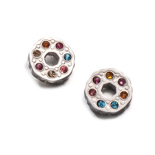 Pendientes de botón de cristal multicolor de acero inoxidable