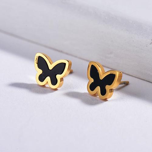 Pendientes de mariposa de acero inoxidable con diseño de personalidad de joyería chapada en oro