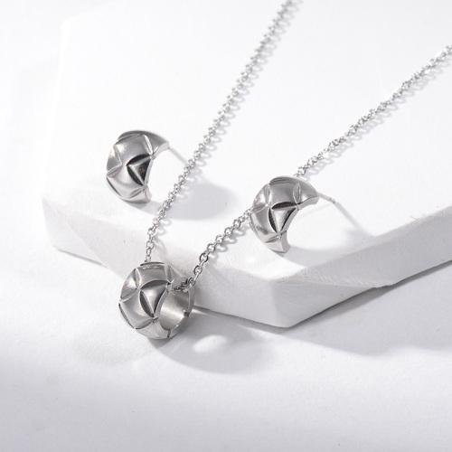 Pendientes de collar de plata de moda de acero inoxidable Conjuntos de joyas para niñas pequeñas