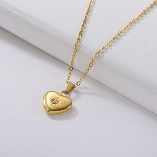 collar de oro Little Star Diamond Heart