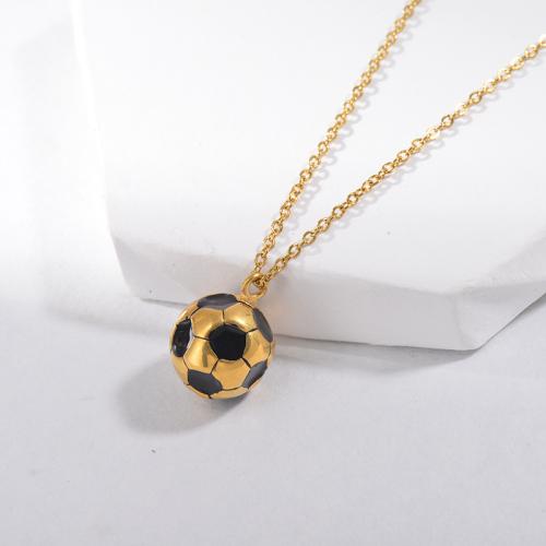 Collar encantador del encanto de la bola del pie del fútbol del esmalte negro de la joyería