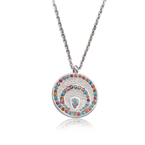 Vintage style colored diamond silver necklace