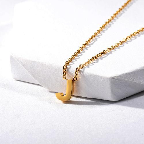 Collar con dije de letra J chapado en oro barato para mujer