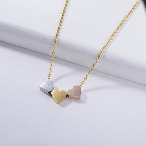 ladies necklace trendy style Three heart pendants