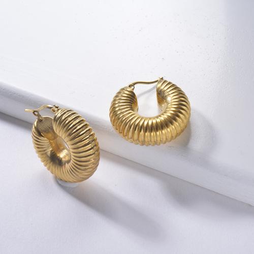 مجوهرات مطلية بالذهب تصميم أزياء أقراط الفولاذ المقاوم للصدأ