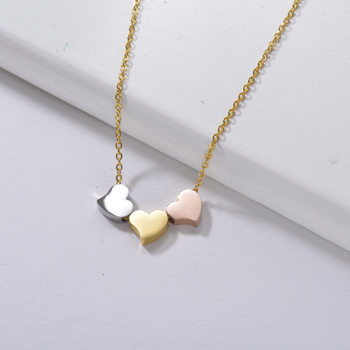 gold chain design for girl Three hearts  necklace