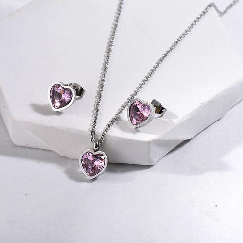 Conjunto de joyas antiguas de cristal de corazón de acero inoxidable de moda