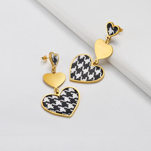 Gold Plated Jewelry Personality Design Stainless Steel Triple Heart Drop Earrings