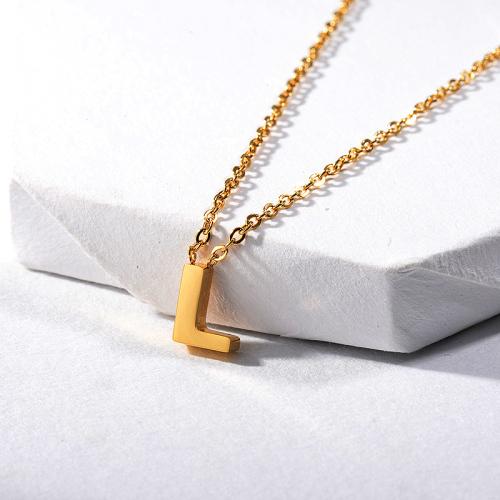 Collar delicado con dije de letra L chapado en oro para mujer