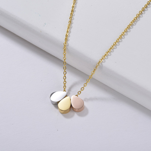 simple gold necklace Three small water point pendants