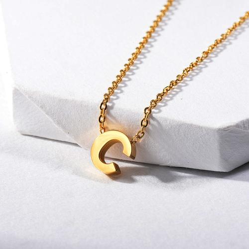 Collar con dije de letra C chapado en oro para regalo de cumpleaños