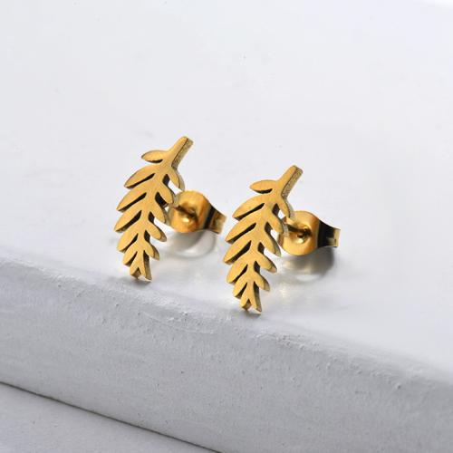 Joyería chapada en oro Diseño de personalidad Pendientes de hoja de estilo lindo de acero inoxidable