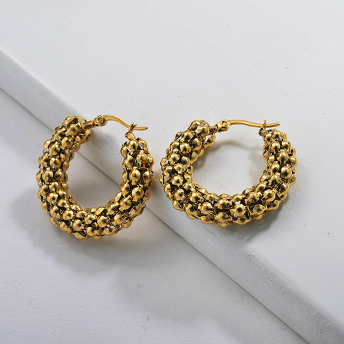 Gold Plated Jewelry personality Design Stainless Steel Hoop Earrings 9*29mm