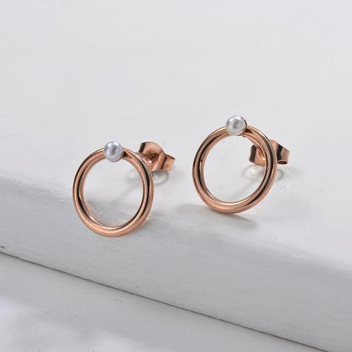 Pendientes Perlas de Acero Inoxidable -SSEGG143-9116