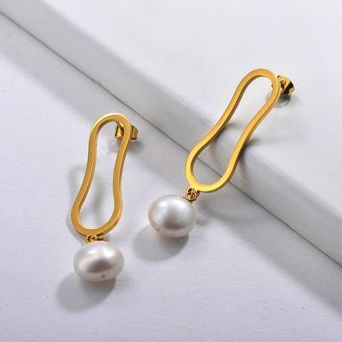 Boucles d'oreilles pendantes de perle d'acier inoxydable de conception de personnalité de bijoux plaqués or