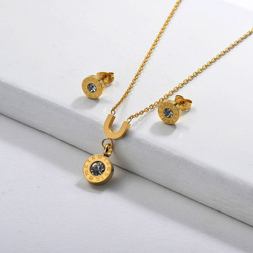 Ensembles de bijoux en acier inoxydable Zircon