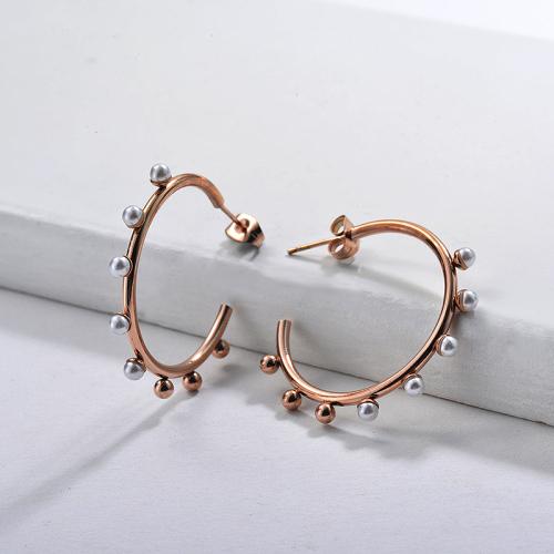 Pendientes Aro de Perlas de Acero Inoxidable -SSEGG143-9111