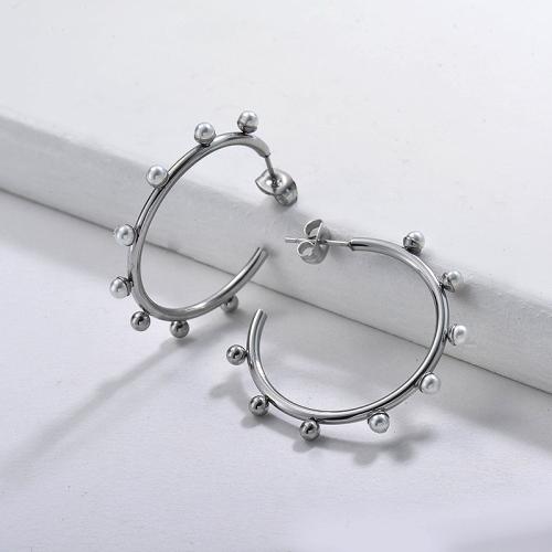 Pendientes Aro de Perlas de Acero Inoxidable -SSEGG143-9113