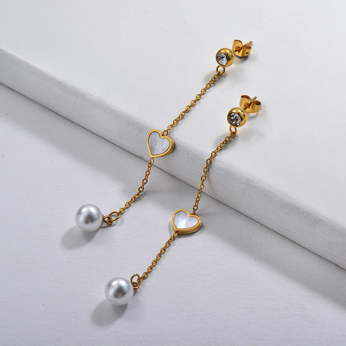 Boucle d'oreille de goutte de perle de style français de personnalité de bijoux d'acier inoxydable plaqué argent