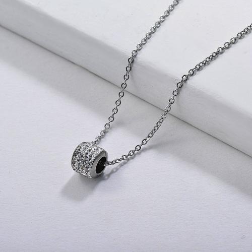 Bola de rollo de plata de moda con collar colgante de cristal completo