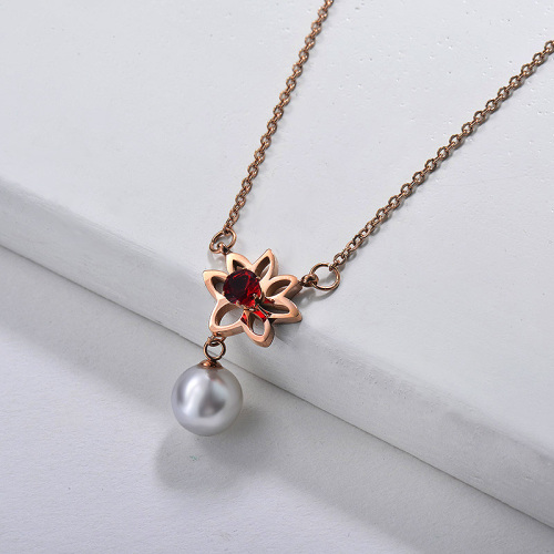 Dainty Rose Gold Stainless Steel Flower Charm With Freshwater Pearl Necklace