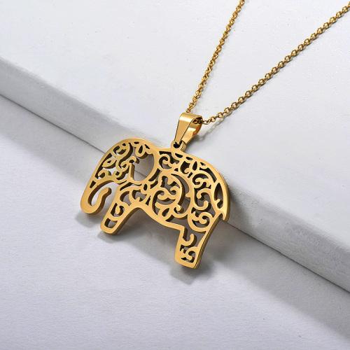 Collar con colgante animal elefante hueco de oro al por mayor