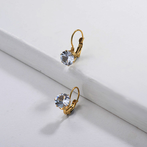 Gold Plated Jewelry personality Design Stainless Steel Diamond Earrings