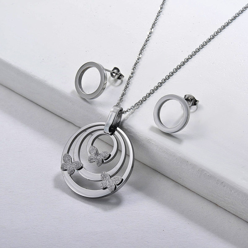 Stainless Steel Round Butterfly Jewelry Sets