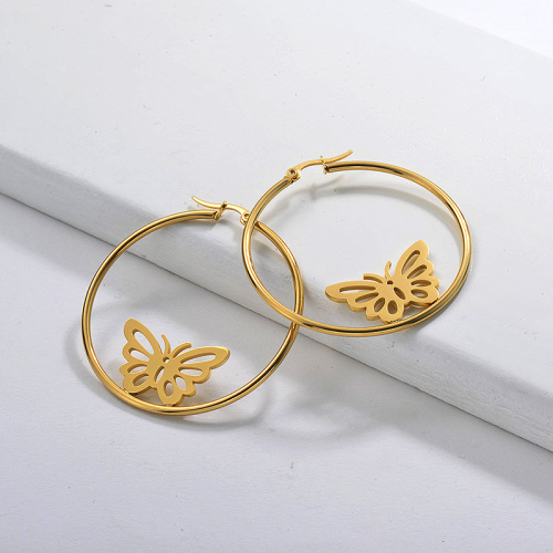 Gold Plated Jewelry personality Design Stainless Steel Butterfly Hoop Earrings 33mm