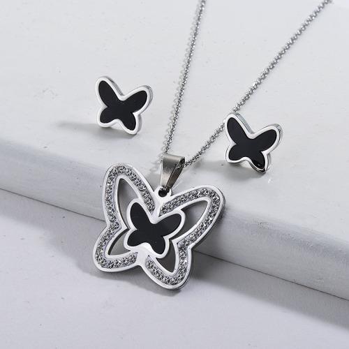 Conjuntos de joyas de acero inoxidable plateado mariposa negro