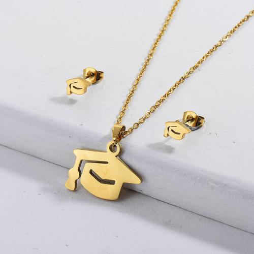 Conjuntos de joyas de collar con símbolo de carrera de oro