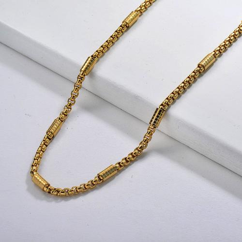 Collar llamativo de cadena de eslabones mixtos de acero inoxidable de 62 CM