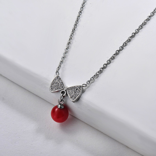 Luxury Silver Bowknot Pendant With Zircon And Red Ball Necklace