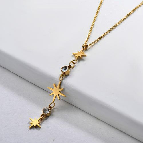 Elegante colgante de estrella chapado en oro con collar de cristal en forma de Y