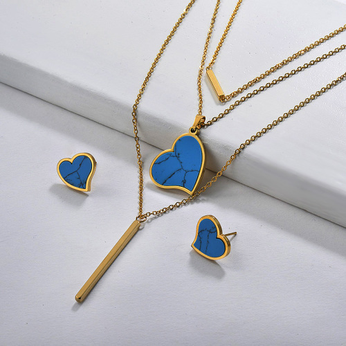 Blue Turquoise Gold Layered Heart Necklace Jewelry Sets