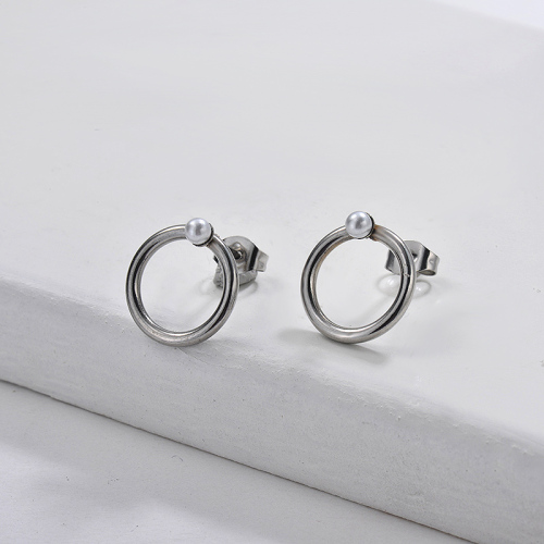 Boucles d'oreilles créoles de personnalité de bijoux en acier inoxydable plaqué argent 14MM + 3MM