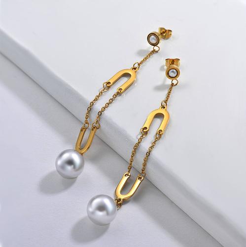 Pendientes Perlas de Acero Inoxidable -SSEGG143-9310