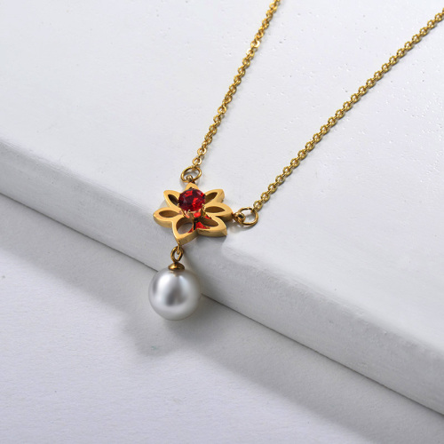 14K Gold Plated Stainless Steel Flower Charm With Freshwater Pearl Necklace