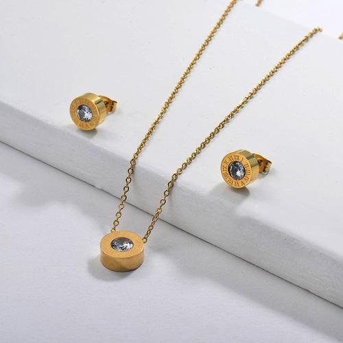 Ensembles de bijoux élégants plaqués or Zircon