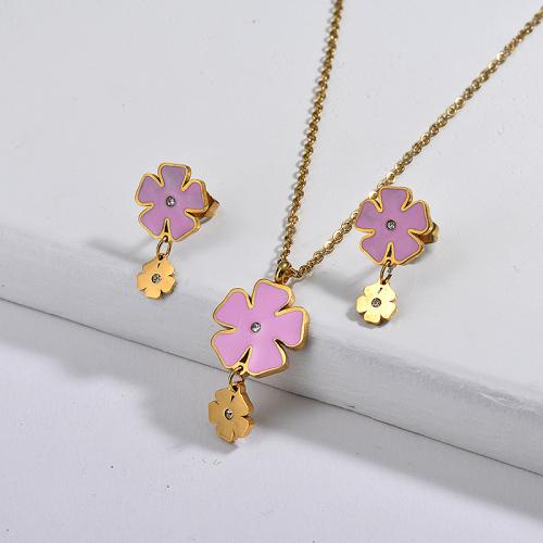 Conjuntos de joyas de flores chapadas en oro de acero inoxidable