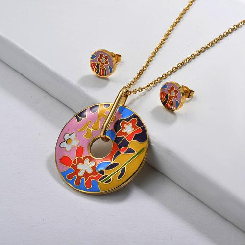 Ensembles de bijoux en émail fleur rose en acier inoxydable pour femmes