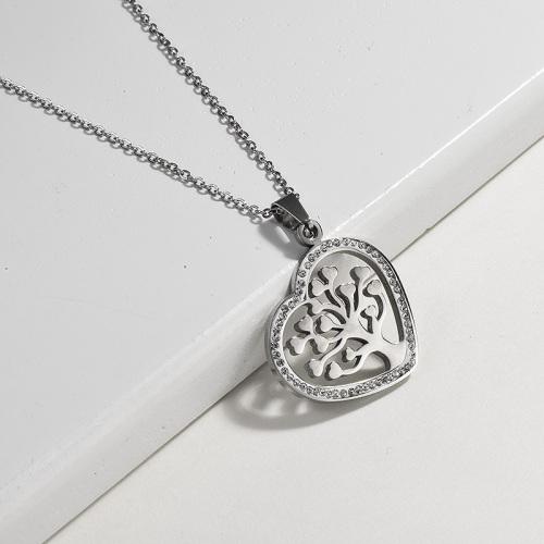 Collar de plata estilo árbol de la vida en forma de corazón