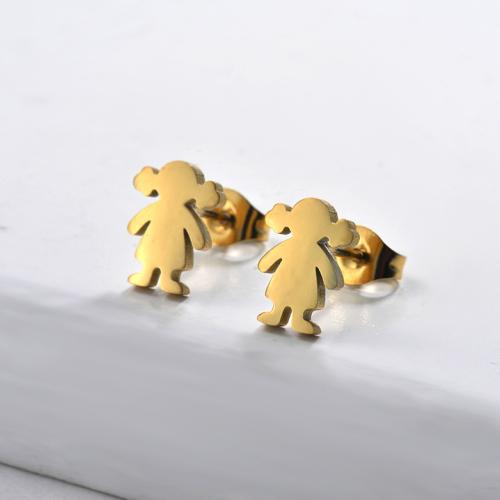 Pendientes de Acero Inoxidable bañados en oro-SSEGG143-8828