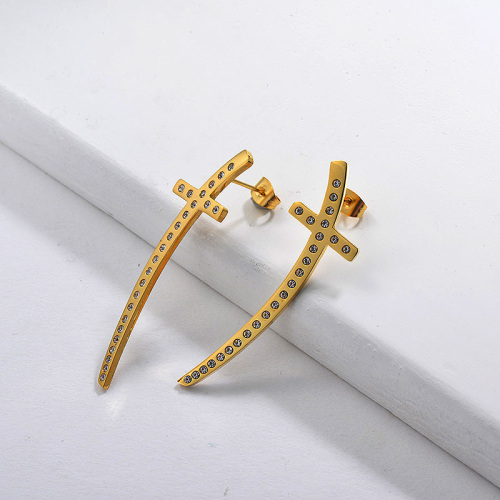 Gold Plated Crystal Cross Earring