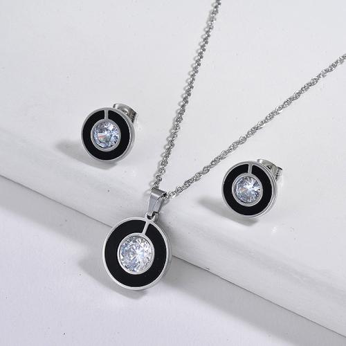 Cubic Zircon Simple Round Jewelry Sets